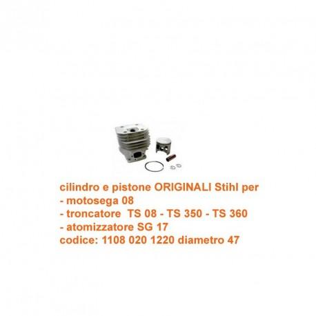 cilindro e pistone per Stihl 08 - SG 17 - TS 08 - TS 350 - TS 360
